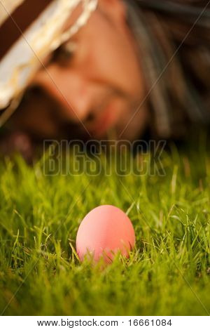 Easter Pink Egg On Grass