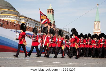 MOSCOW - MAY 9: 1st Battalion Welsh Guards. Military Parade on 65th anniversary of Victory in Great Patriotic War on May 9, 2010 on Red Square in Moscow, Russia