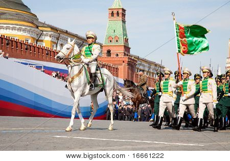 MOSCOW - MAY 9: Turkmenistan Turkmenistan troops. Military Parade on 65th anniversary of Victory in Great Patriotic War on May 9, 2010 on Red Square in Moscow, Russia