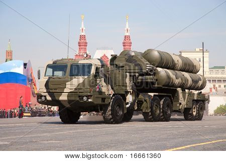 MOSCOW - MAY 9: Anti-aircraft missile system S-400. Military Parade on 65th anniversary of Victory in Great Patriotic War on May 9, 2010 on Red Square in Moscow, Russia