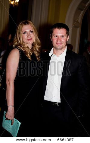 MOSCOW - MAY 20: Olympic champion Alexei Nemov with wife. Concert in memory Oleg Yankovsky. Festival Bosco di Ciliegi