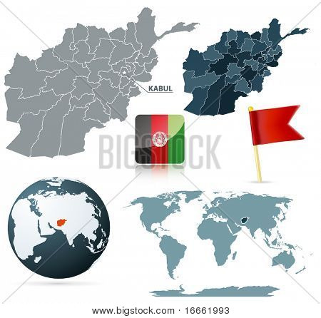 Set of afganistan maps, red flag pin and flag icon.  Source: http://www.lib.utexas.edu/maps/