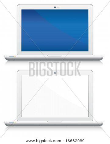 Conjunto de ordenadores portátiles en blanco. Colección de objetos electrónicos de vector.