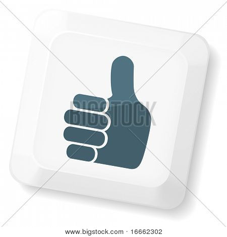 Thumb`s up sign on computer key. Vector keyboard collection.