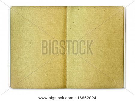 Old style brown notebook isolated on white background