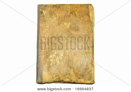 yellowed vintage folder for paper isolated on white