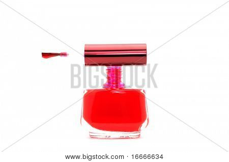Red nail polish on white background