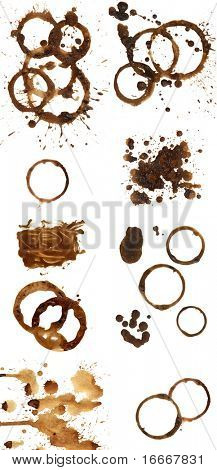 Coffee stains and splashes, isolated on white. Set.