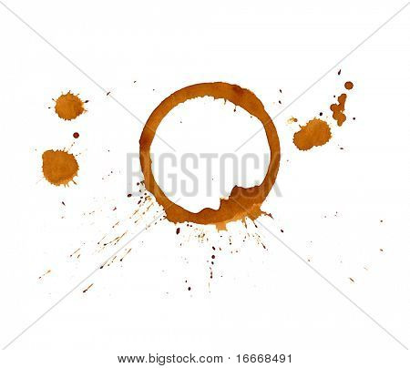 Café de manchas e salpicos, isolado no branco.