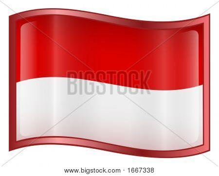 Icono de la bandera de Indonesia. (Con recorte ruta)
