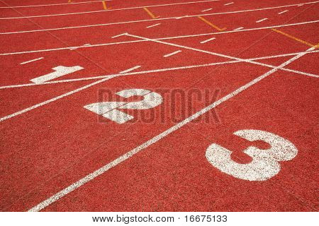 1,2,3 on a running track finish line