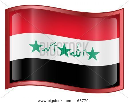Iraq Flag Icon. ( With Clipping Path )