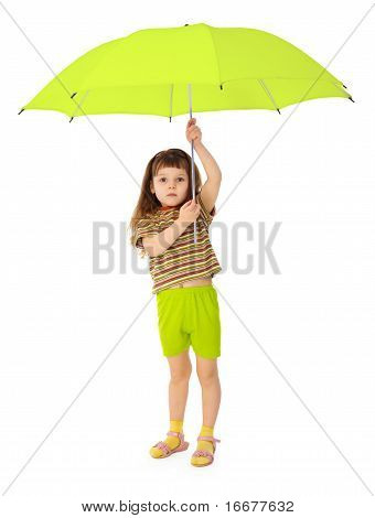 Child Holds Big Green Umbrella