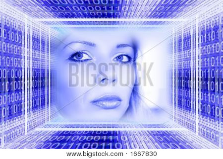 Digital Technologies Concept: A Luminous Girl In The Binary Cone Tunnel