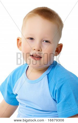 Portrait Of Child In A Blue T-shirt