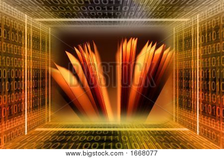 Binary Code Tunnel And A Book With Blank Pages