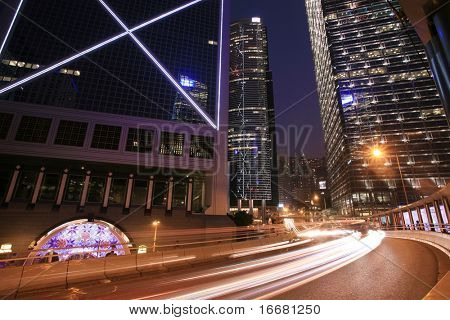 traffice through downtown in Hongkong