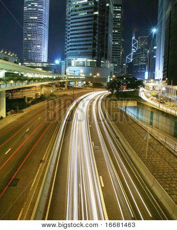 traffic trough downtown in Hongkong