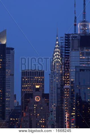 Manhattan Mid-Town Skyline At Night, New York City