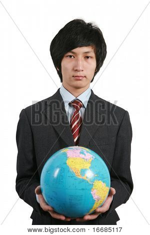 young asian business man holding earth with white background