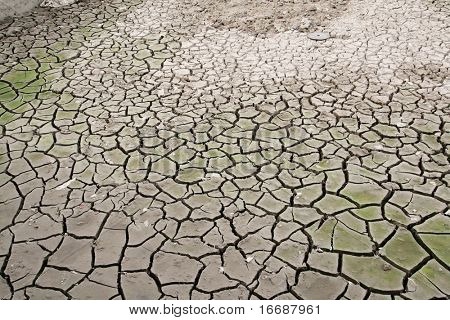dried climate, fissured cracked earth and sand
