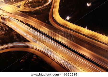 cross junction in China at night