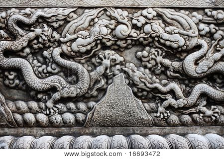 Asian style stone pattern on a wall