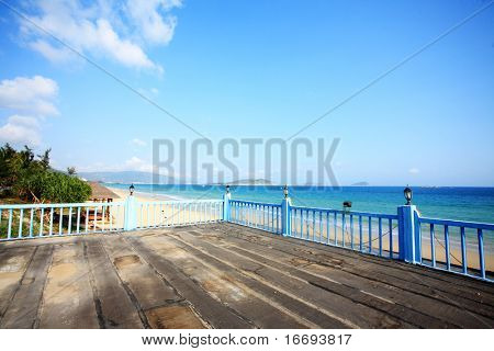 tropical balcony with sea view