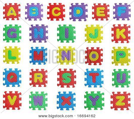 colourful building blocks with alphabets on white