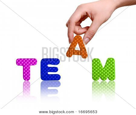 Hand and word Team, business concept, isolated on white background