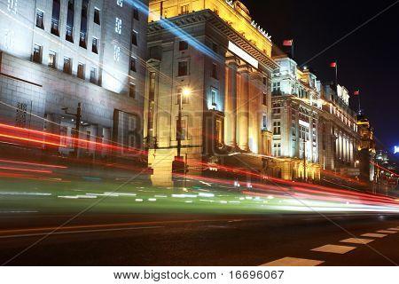 modern urban city-Shanghai at night with freeway traffic