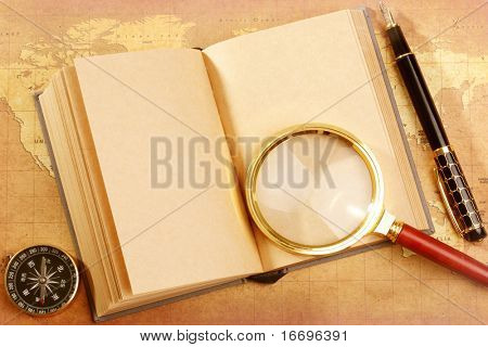 An old book on a Treasure map background