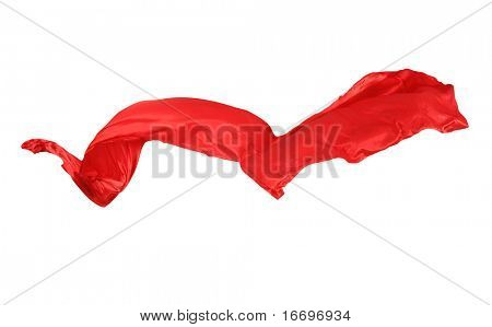 Suave elegante rojo satinado aislado sobre fondo blanco