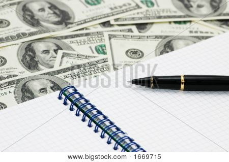 American Dollars, Ball Pen  And Notebook