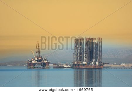 Two Offshore Rigs At Caspian Shore Near Baku