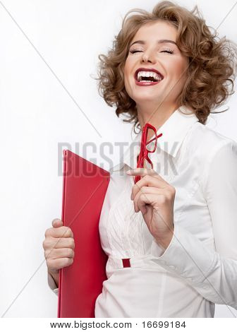 attractive woman in suit with papers