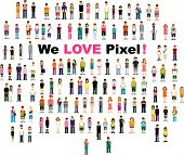 stock photo of pixel  - cute pixel people version 2 - JPG