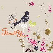 stock photo of thank you card  - floral and bird design - JPG