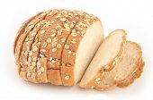 picture of fresh slice bread  - isolated loaf of sliced bread on white - JPG