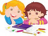 Постер, плакат: иллюстрации из двух девушек с художественные принадлежности