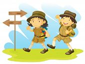 stock photo of boy scout  - an illustration of a boy and girl scout - JPG