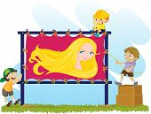 an illustration of goldie locks on a poster poster