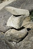 stock photo of trailblazer  - Trail marker with three stacked stones beside the Liberty Cap Trail near Grand Junction Colorado - JPG