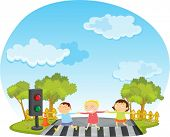 stock photo of zebra crossing  - illustration of kids on white - JPG