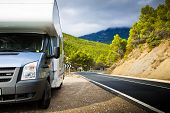 stock photo of motorhome  - Motor Home Near The Road - JPG
