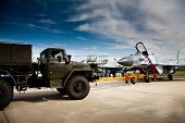 Fighter Mig-29 And Truck at the International Aviation and Space salon MAKS