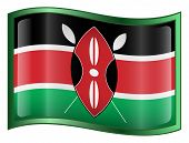 Kenya Flag Icon. ( With Clipping Path )