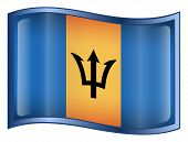 Barbados Flag Icon. (With Clipping Path)