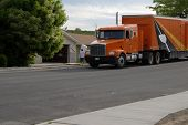image of moving van  - moving to new neighborhood with moving company - JPG