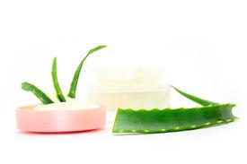 stock photo of aloe-vera  - Jar of cream with aloe - JPG